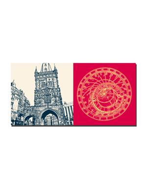 ART-DOMINO® BY SABINE WELZ Prag - Pulverturm + Astronomische Uhr