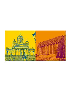 ART-DOMINO® BY SABINE WELZ Helsinki - Dom und Kandelaber + Parlamentsgebäude