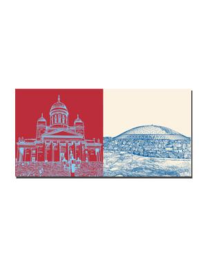 ART-DOMINO® BY SABINE WELZ Helsinki - Dom und Kandelaber + Felsenkirche