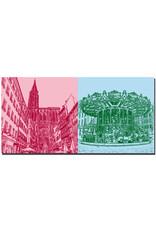 ART-DOMINO® BY SABINE WELZ Straßburg - Liebfrauenkirche, rue mercière + Hist. Karussell Place Gutenberg