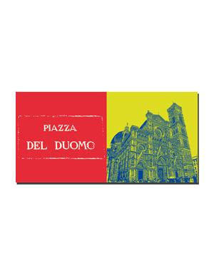 ART-DOMINO® BY SABINE WELZ Florenz - Schriftzug Piazza Del Duomo + Duomo