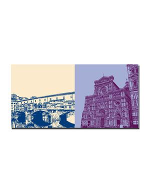 ART-DOMINO® BY SABINE WELZ Florenz - Ponte Vecchio + Duomo und Glockenturm