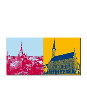 ART-DOMINO® BY SABINE WELZ Tallinn - Blick auf Altstadt + Rathaus