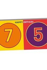 ART-DOMINO® BY SABINE WELZ HAPPY BIRTHDAY - Geburtstagskarte zum 75.
