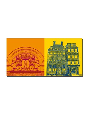 ART-DOMINO® by SABINE WELZ Amsterdam - Stadtwappen + Rembrandt Huis