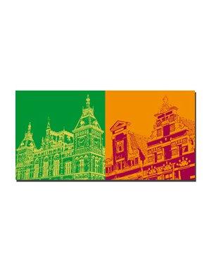 ART-DOMINO® by SABINE WELZ Amsterdam - Central Station + Stadthäuser