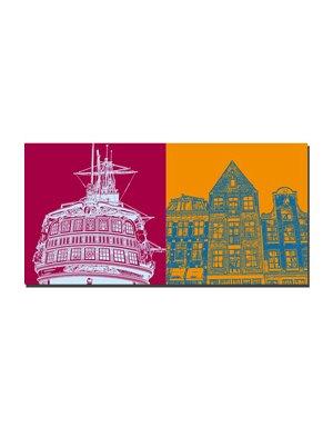 """ART-DOMINO® BY SABINE WELZ Amsterdam – Segler """"Amsterdam"""" + Drei Häuser Centrum"""