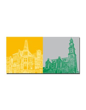 ART-DOMINO® by SABINE WELZ Amsterdam – Hausecke Spiegelkwatier + Westerkerk