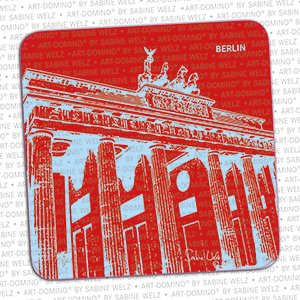 ART-DOMINO® by SABINE WELZ BEER COASTER - Berlin - Brandenburg Gate