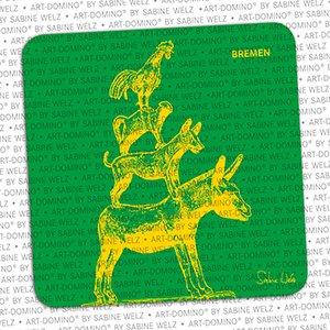 ART-DOMINO® by SABINE WELZ BIÉRE COASTER - Bremen - Musiciens de Brême