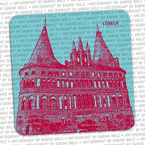 ART-DOMINO® by SABINE WELZ BEER COASTER - Lübeck - Holstentor