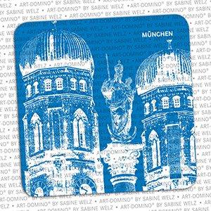 ART-DOMINO® by SABINE WELZ BEER COASTER - Munich - Frauenkirche