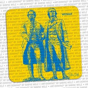 ART-DOMINO® by SABINE WELZ BEER COASTER - Weimar - Goethe-Schiller-Monument