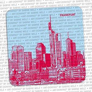 ART-DOMINO® by SABINE WELZ BEER COASTER - Frankfurt - Skyline