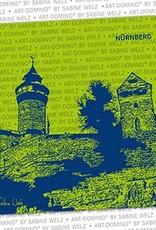 ART-DOMINO® by SABINE WELZ BEER COASTER - Nuremberg - Kaiserburg