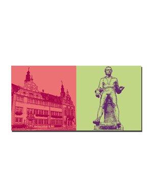 ART-DOMINO® BY SABINE WELZ Arnstadt - Rathaus + Johann-Sebastian Bach