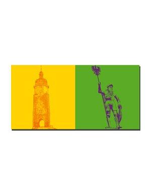 ART-DOMINO® BY SABINE WELZ Arnstadt - Neutorturm + Hopfenbrunnenfigur Gew. Ritter