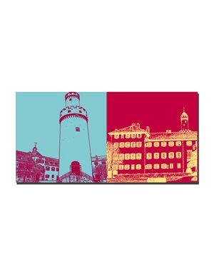 ART-DOMINO® BY SABINE WELZ Bad Homburg – Weisser Turm / Innenhof + Schloss Bad Homburg