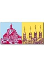 ART-DOMINO® by SABINE WELZ Bamberg - Altes Rathaus und Rotte + Dom Türme St. Peter und St. Georg