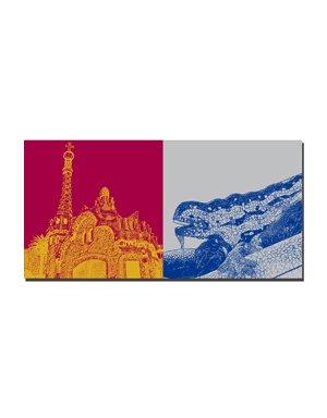 ART-DOMINO® by SABINE WELZ Barcelona - Pavellons Güell + Gaudi Drache