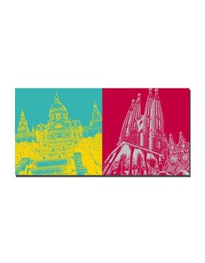 ART-DOMINO® BY SABINE WELZ Barcelona - Nationalmuseum + Sagrada Familia