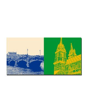 ART-DOMINO® by SABINE WELZ Basel - Mittlere Rheinbrücke + Münster