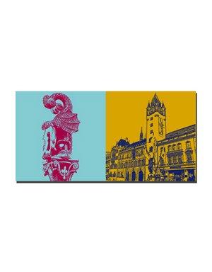 ART-DOMINO® BY SABINE WELZ Basel - Basiliskenbrunnen + Rathaus