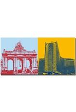 ART-DOMINO® BY SABINE WELZ Brüssel - Triumphbogen + Berlaymont Gebäude