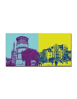 ART-DOMINO® BY SABINE WELZ Düsseldorf - Alter Schlossturm/Lambertus Basilika + Burgplatz