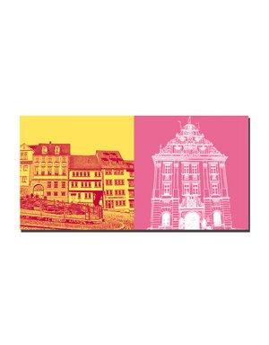 ART-DOMINO® BY SABINE WELZ Gotha - Häuser am Hauptmarkt + Rathaus