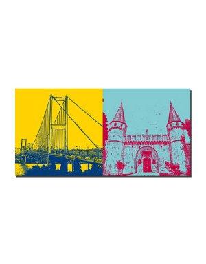 ART-DOMINO® BY SABINE WELZ Istanbul - Bosporusbrücke + Topkapi