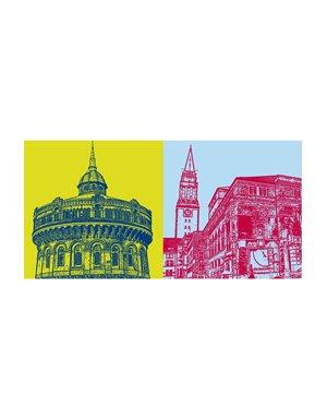 ART-DOMINO® BY SABINE WELZ Kiel - Ravensberger Wasserturm + Oper mit Rathaus