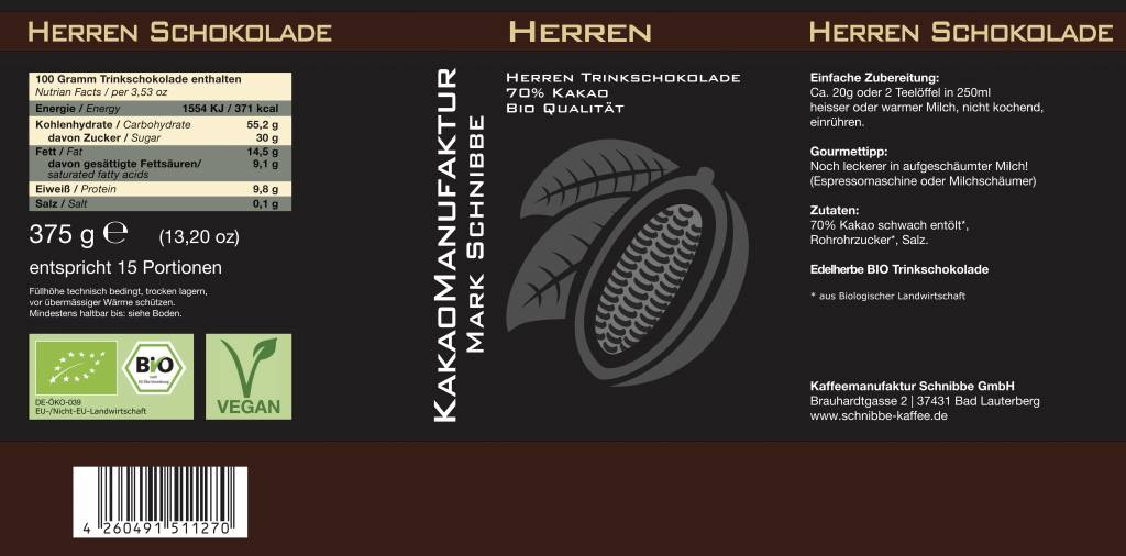 Bio Vegan Herren Kakao 70%
