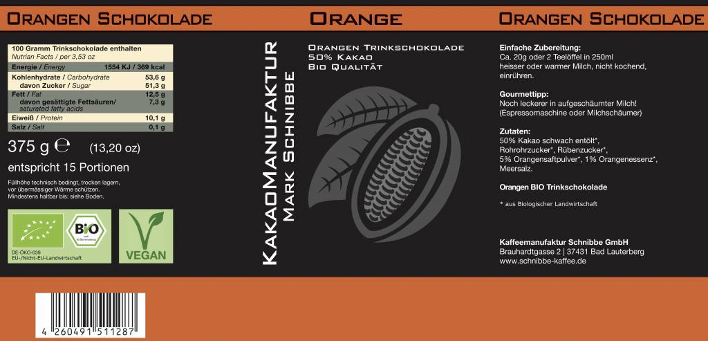 Bio Vegan Orange-Kakao 50%