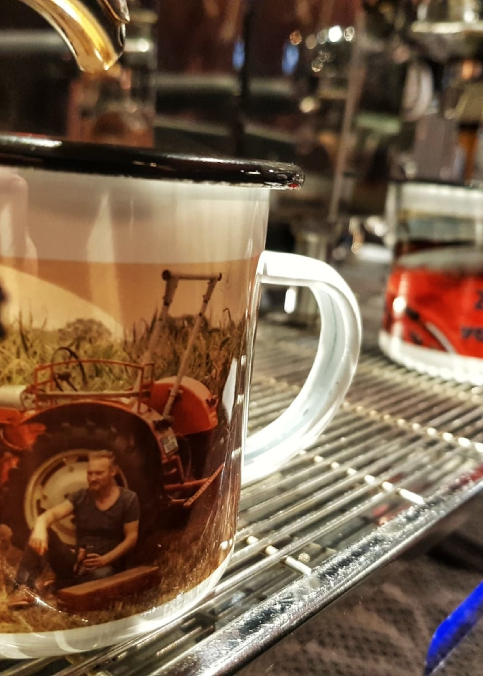 Enamel mug tractor drivers are allowed to do this