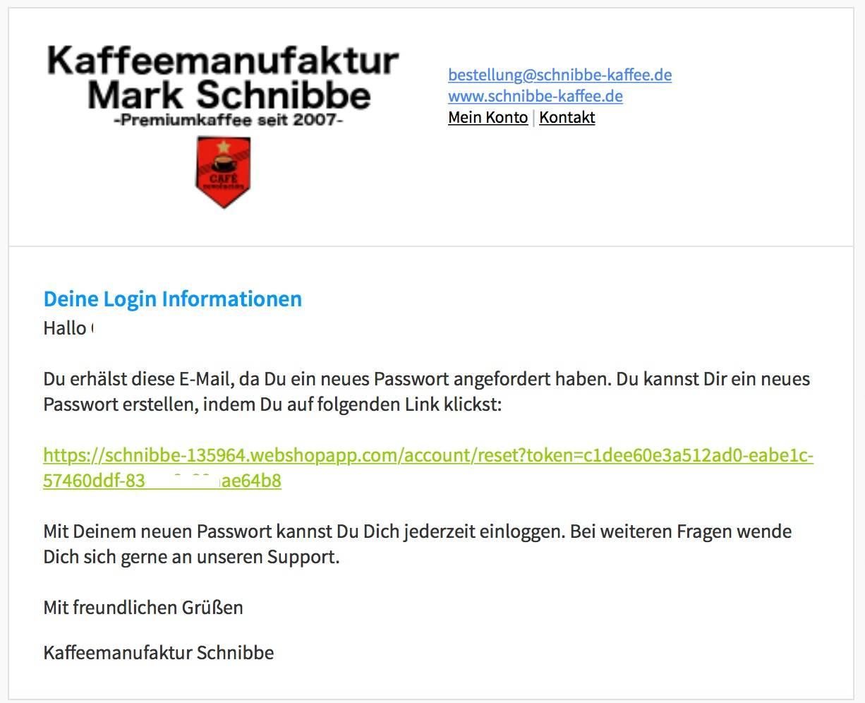 Bestandskunden neues Passwort zusenden !!