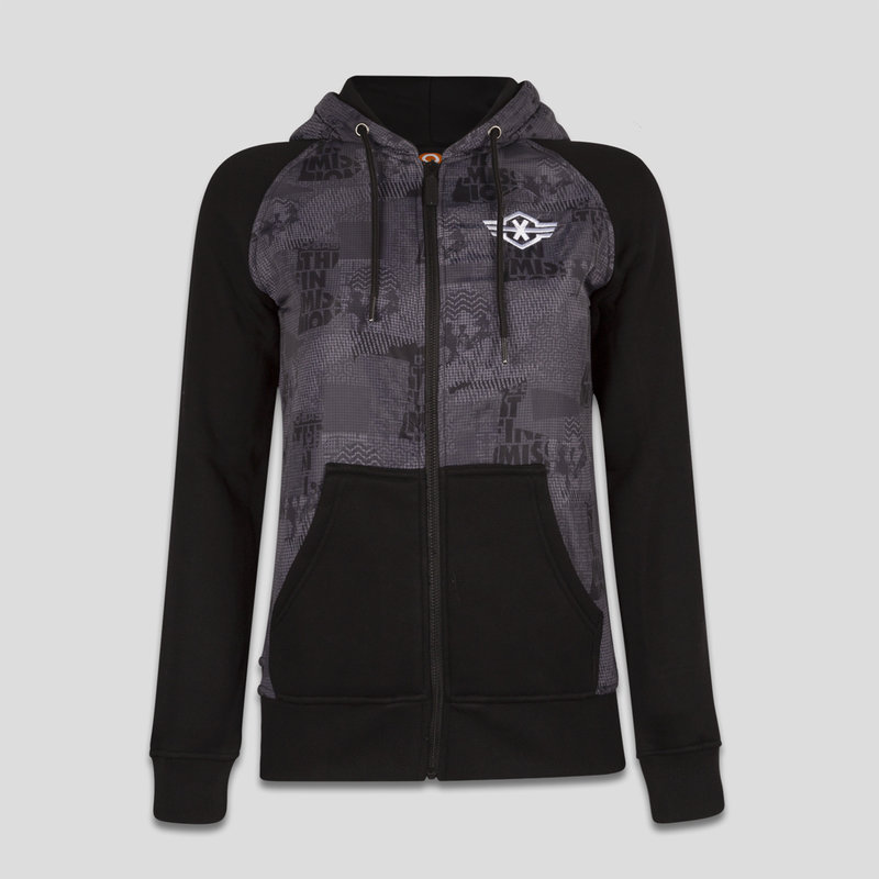 Q-base hooded zip black/grey