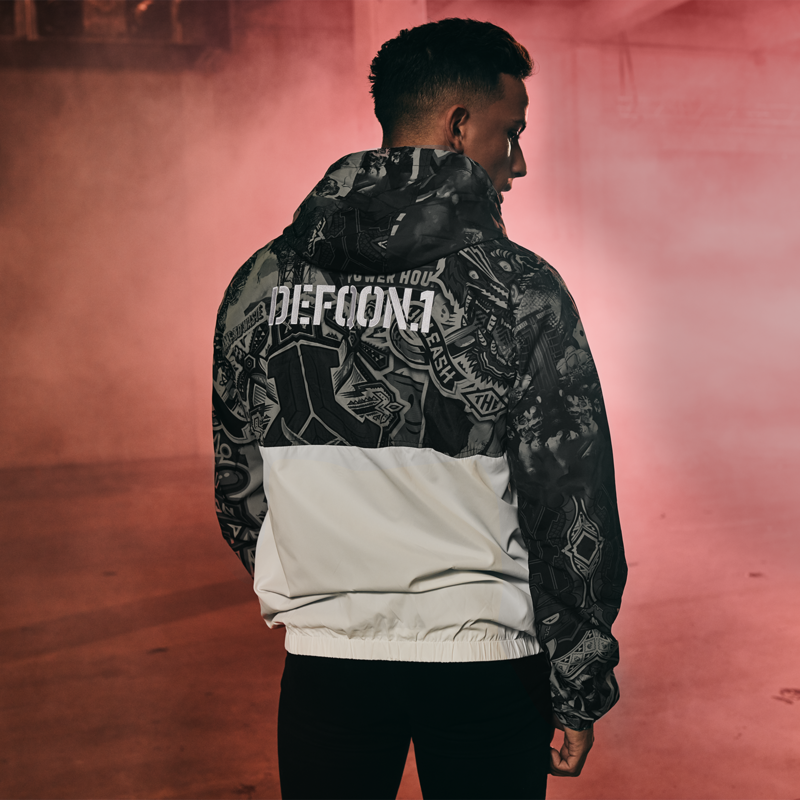 Defqon.1 wind jacket white/ sticker bomb
