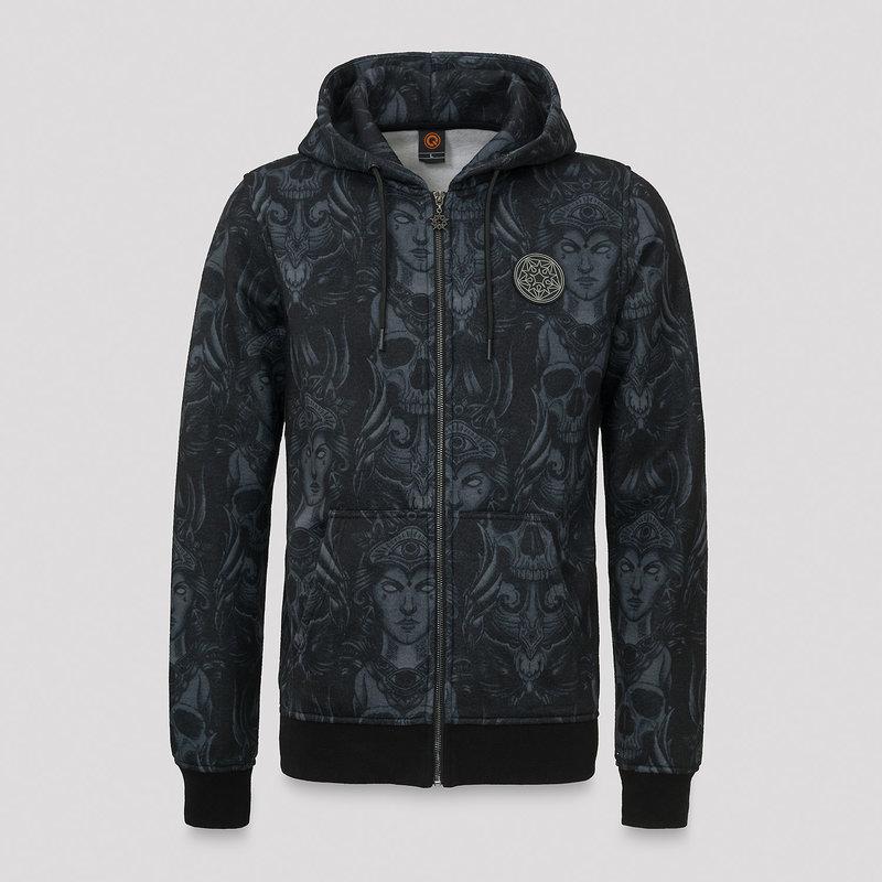 Qlimax hooded zip pattern/grey