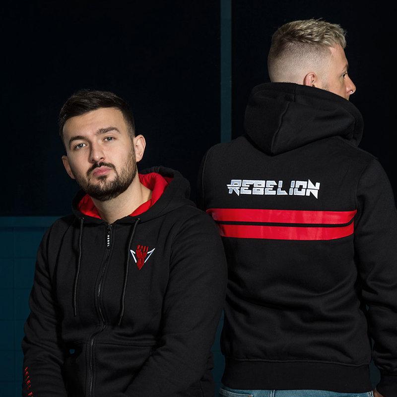 Rebelion hooded zip black/red