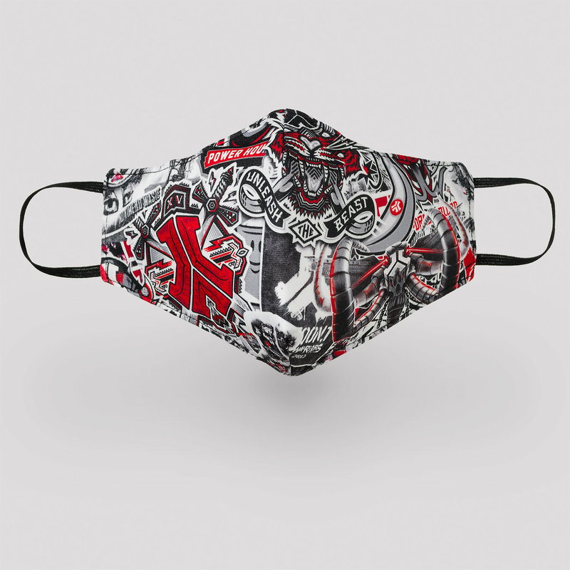 Sticker Bomb face mask red