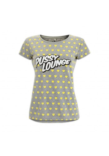 PUSSY LOUNGE T-SHIRT YELLOW HEARTS