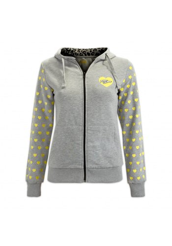 PUSSY LOUNGE HOODED ZIP YELLOW HEARTS
