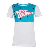 PUSSY LOUNGE T-SHIRT WHITE & MINT