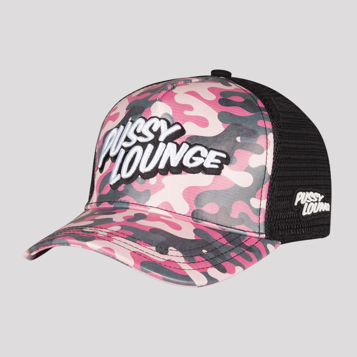 PUSSY LOUNGE TRUCKER CAP CAMO PINK