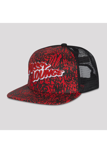 PUSSY LOUNGE TRUCKERCAP RED CAMO ALL OVER PRINT