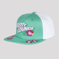 PUSSY LOUNGE SNAPBACK GREEN/WHITE FLOWERS