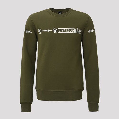 Decibel crewneck army green/white