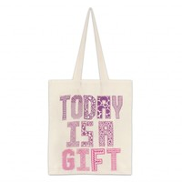 CANVASBAG OFF WHITE/PINK/PURPLE