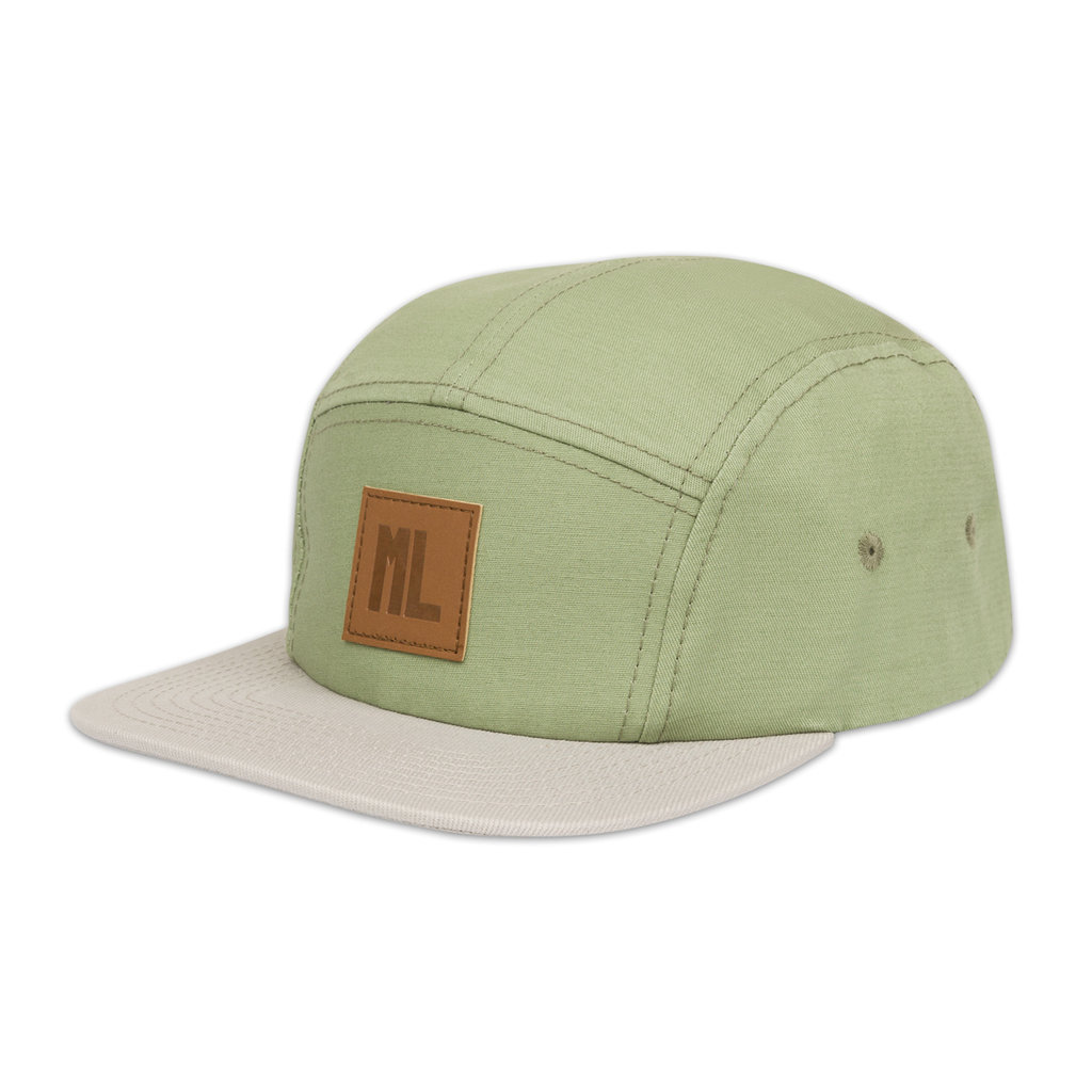 5-PANEL CAP GREEN/LEATHER